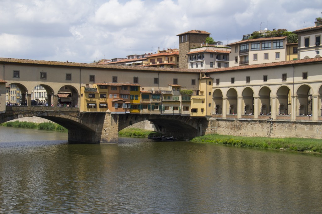 Ponte Vecchio with the Vasari Corridor above it in Florence, Tuscany in Italy