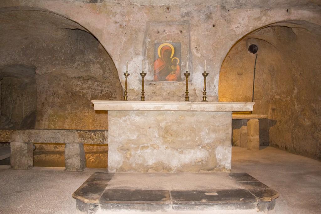 Rupestrian crypt in Chiesa di Santa Maria degli Amalfitani in the old town of Monopoli in Puglia, Italy